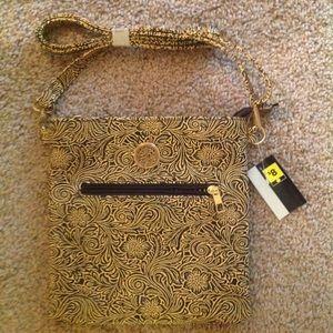"Handbags - NWT Tan & Black Swirl Crossbody Purse 8.5""x9"""
